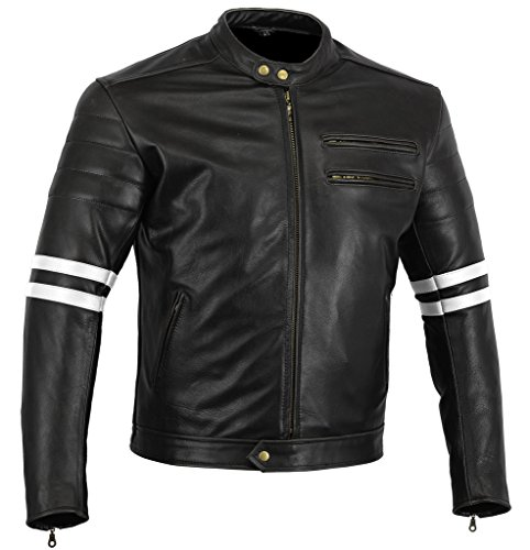 Bikers Gear UK GIACCA in PELLE da MOTO VINTAGE CUSTOM CAFE RACER TAGLIA L