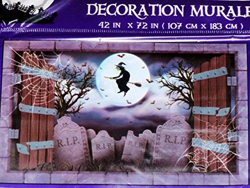 6ft X 3.5ft HALLOWEEN WITCH CEMETERY WALL DECORATION~Banner/Mural/Scene Setter (Halloween Decorations Garage Door)