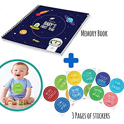 Baby's First Year Memory Book With 12 Milestone Stickers, Space Explorer Edition