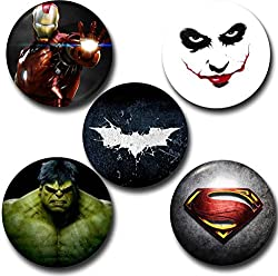 Capturing Happiness Multicolor 5.8cm Superhero Badge Pack of 5 Badges