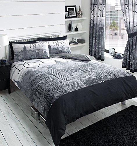 4PCS DOUBLE BED DUVET QUILT COVER COMPLETE BEDDING SET + SHEET NEW YORK CITY NYC