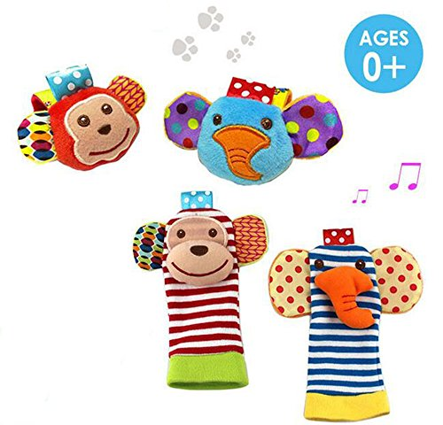 Daisy 4 Packs Adorable Animal Infant Baby Toy Set Bell Wrist Rattle & Foot Finder Socks - Monkey and Elephant (Rattle Feet compare prices)