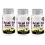 ACAI Fat Burn #3  (3 Bottles) all Pure Diet Pill with Green Tea, Grapefruit, Apple Cider, and more for Weight Loss and fat burning ~ Life Smart Labs Inc.