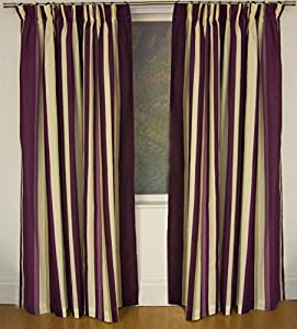 Mali Plum Cotton Blend Lined 90x90 Striped Pencil Pleat Curtains #rtsrev *hc* by Curtains