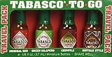 Tabasco - To-Go - Travel Pack (Pack of 4 Mini Tabasco Bottles) Original Red - Green Jalapeno - Chipotle - Buffalo Style (1/8 fl oz. each)