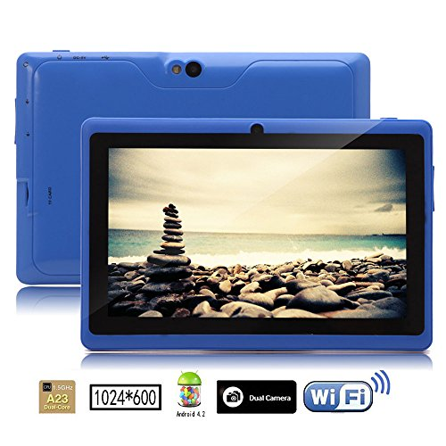 Irulu 7 Inch Android Tablet Pc, 1024*600 Hd Screen With 5 Point Capactive Touch, 4.2 Jelly Bean Os, Dual Core, Allwinner A23 Cpu, Dual Cameras(0.3/2.0Mp), 8Gb Storage (Blue)