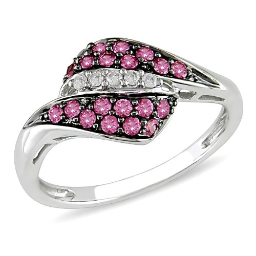 10k White Gold Pink Sapphire and Diamond Fashion Ring, (.05 cttw, G-H Color, I2-I3 Clarity)