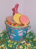 Scott's Cakes 1 lb. Easter Egg Sugar Cookies in a Blue Bunny Pail with Jelly Beans and Milk Chocolate Bunny