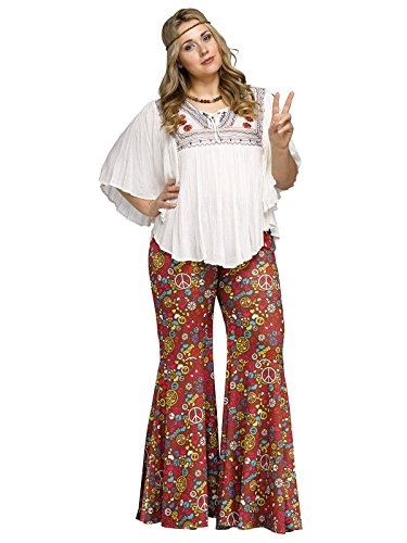 Cute Hippie Bell Bottom Flower Power Plus Size red multicoloured XL