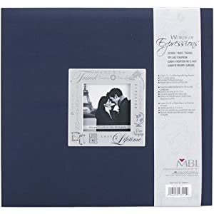 MBI 12-Inch by 12-Inch Expressions Postbound Album, Travel, Navy