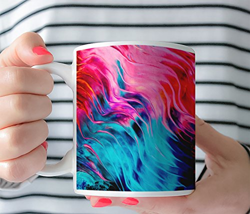 Coffee Mug - Hand painted with Acrylic paint Printed Art mug- Picasso Collection Hand Made Brush Strokes Large Tea Cup 11 Oz or 15 Oz 0046