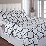 Echelon Quatrefoil Full/Queen Duvet Cover Set, Midnight