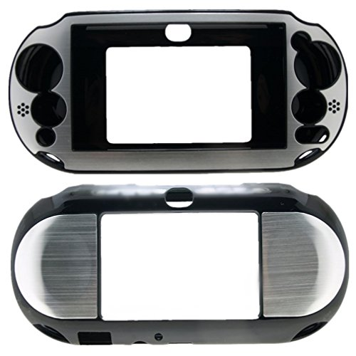For PlayStation PS VITA 2000 Slim (PCH-2000 Slim Only) Hybrid Brushed Aluminum Metal Plated Crystal Case Cover + Screen Protector (Many Colors Available) (Silver) (Ps Vita 2000 Case compare prices)