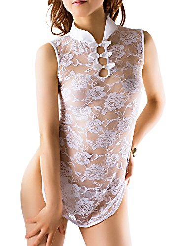 R-STYLE 女性の魅力を強調する シースルー チャイナドレス オリジナルセクシーショーツ付きセット (ミニホワイト)