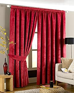 Luxurious Red Heavyweight Velvet 46x54 Lined Pencil Pleat Curtain Drapes from Curtains