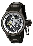 Invicta Russian Diver Men's Mechanical Watch with Silver Skeleton Dial Analogue Display and Black PU Strap 1091