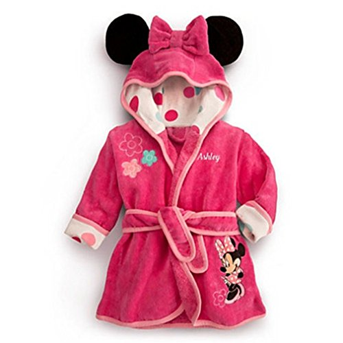 Little Girls Hood Bathrobe Pajamas Robe Sleepwear Homewear Minnie Coat Pink 5t
