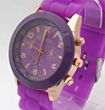 Purple Geneva Ladies/Girls Silicone Watch. Decorative 3 Eyes. 16-22cm Strap. 4cm Dial