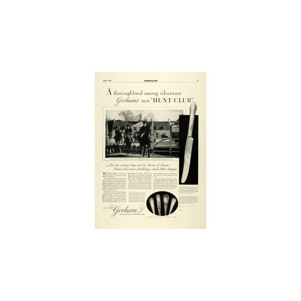 1931 Ad Gorham Fox Onwentsia Hunt Club Sterling Silverware