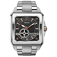 Bulova Automatic Men's Watch with Grey Dial Analogue Display and Silver Stainless Steel Bracelet - 98A132