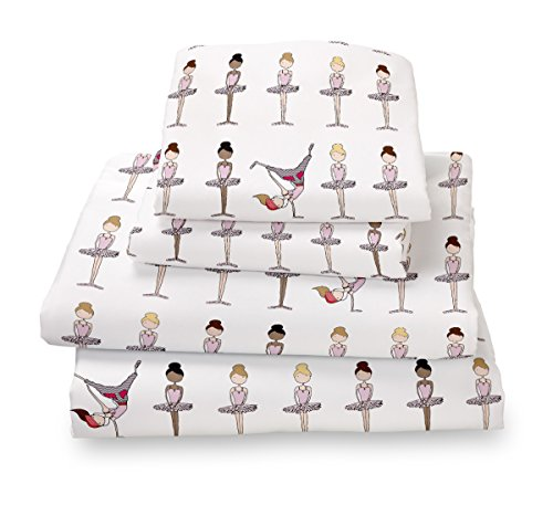 Full Sheet Set Ballerina Print for Kids Bedding - Double Brushed Ultra Microfiber Luxury Bedding Set By Where the Polka Dots Roam (Kid Bedding Full compare prices)