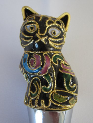 Chinese Beijing Cloisonne Black Cat Wine Bottle Stopper