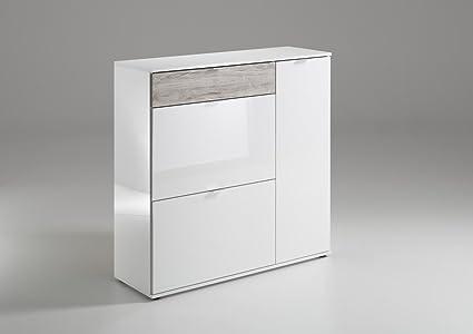 Dreams4Home Mehrzweckkommode 'Effie V' (B/H/T) ca. 108,0 x 108,5 x 37 cm in Hochglanz-Weiß/Sandeiche Kommode Sideboard Highboard Schrank Schuhschrank Wohnzimmer Esszimmer Diele/Flur Buro