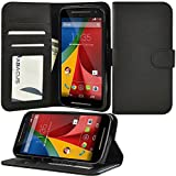 Moto G 2nd Generation Case, Abacus24-7 Moto G 2014 Wallet Case [Book Fold] Leather Moto G2 Flip Cover with Folding Stand, Transparent ID holder, Credit Card Slots - Black Flip Case for Motorola Moto G 2nd Gen.