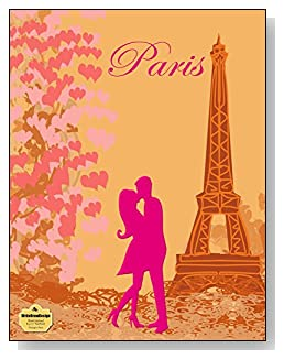 Kissing In Paris Notebook - For the pink Paris-loving romantic! A couple kissing at the Eiffel Tower is the focal point of the cover of this blank unlined notebook.