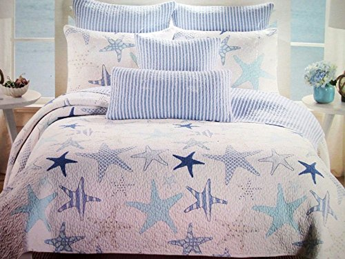 Max Studio Starfish Aqua Blues White Stripes 3 PC Quilt Set FULL ... : starfish quilt - Adamdwight.com