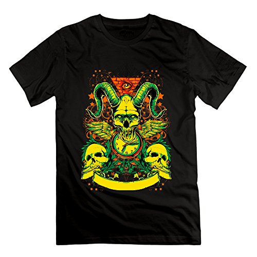 Men's Colorful Skulls Short-Sleeve T-shirt Black