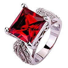 buy Psiroy 925 Sterling Silver Stunning Created Gorgeous Women'S 12Mm*12Mm Princess Cut Garnet Filled Ring
