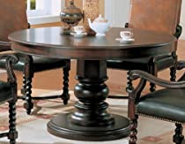 Hot Sale Round Pedestal Wood Brown/Black Dining Table