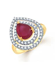 MEENAZ MODERN GOLD AND RODIUM PLATED CZ STUDDED RUBY RING FR154