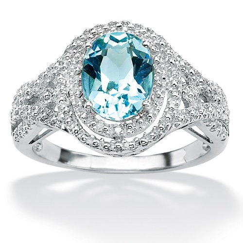 Lux Platinum over Sterling Silver Oval-Cut Blue Topaz and Diamond Accent Ring Size 8