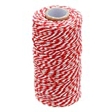 100 M/328 Feet Durable Cotton Baker's Twine String,Heavy Duty Packing Bakers Twine for Gardening Applications(Red and White) (Color: Red White)