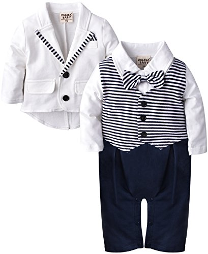 ZOEREA 2pcs Baby Boys Gentlemen Romper Coat Wedding Suits Tuxedo Baptism