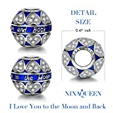 """NinaQueen """"Endless Love"""" 925 Sterling Silver Pandora Heart Charms with Zirconia, Engraved With """"I Love You to the Moon and Back"""", a great gift for Mom,Wife,Girlfriend and daughter on Birthday, Valentines day, Anniversary, Thanksgiving Day and Christmas Day"""