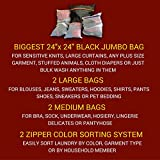Lingerie Bag Set - 5 Mesh Laundry Bags: Heavy Duty Wash Sorters with Extra Large Sack for Big Cloth or Garment Washing. 2 Zipper Colors for Easy Bra & Delicates Sorting. Highest Quality - Lifetime Warranty!