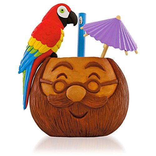 Don't Worry, Be Happy Santa Coconut Mug With Parrot and Parasol Musical Ornament 2015 Hallmark