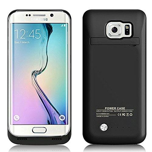 S6 Edge Battery Case,Caka [Newest Version] 4200 Mah Backup External Battery Charger Case For Samsung Galaxy S6 Edge Rechargeable Power Bank Case,Portable Backup Power Bank Case with Kickstand - (Black)