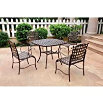 Big Sale Santa Fe Nailhead Iron 5-Piece Dining Set