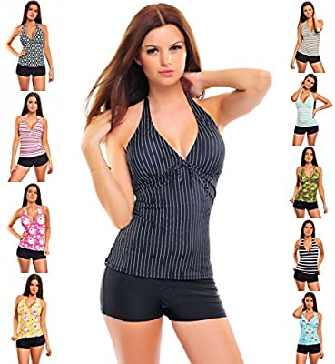 Ladies Push up Tankini with hotpants/Panty two pieces different colors f2576