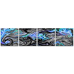 Abstract Acrylic Art \'Lava Blue\' Reverse-Printed Acrylic, Contemporary Blue, Grey & Black Plexiglass Plastic Art, Modern Accent Panels, Abstract Artwork
