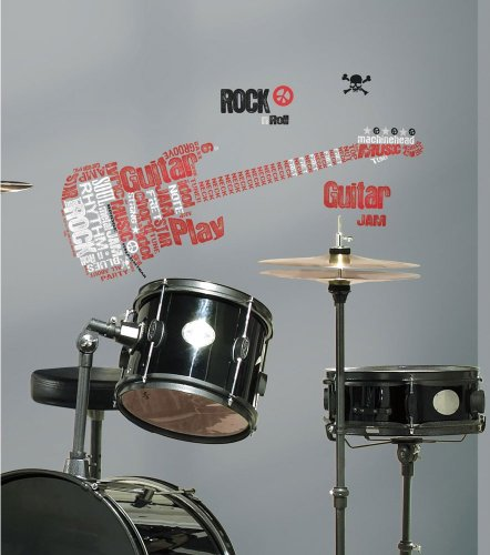 Roommates Rmk1884Gm Rock Guitar Peel And Stick Giant Wall Decal