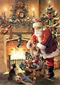 Santa by Fireplace Garden Flag Christmas Tree Stockings Santa Claus 12.5