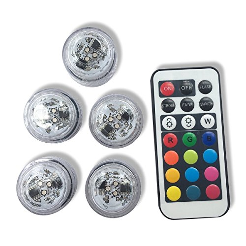 5PCS RGB Submersible LED Lights AAA Battery Operated LED Decorative Lights for Lighting Up Vase, Bowl, Fish Tank, Wedding, Centerpiece, Halloween, Party Lights (5pcs LED Light + 1pcs remote)