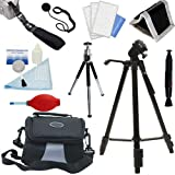 PLR Optics Deluxe Essential STARTER Kit - Includes: Tripod + Case + Hand Strap + Mini Tipod + Cleaning Bundle + Memory Card Wallet + Screen Protector + Lens Cap Strap For The Sony Alpha NEX-C3, 7, 6, 5N, 5R, 5T, 5, 3, 3N, F3, SLT-A33, A35, A37, A55, A57,