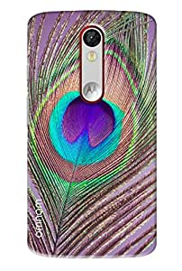 Omnam Peacock Leaf Closeup Printed Designer Back Cover Case For Motorola Moto X Force