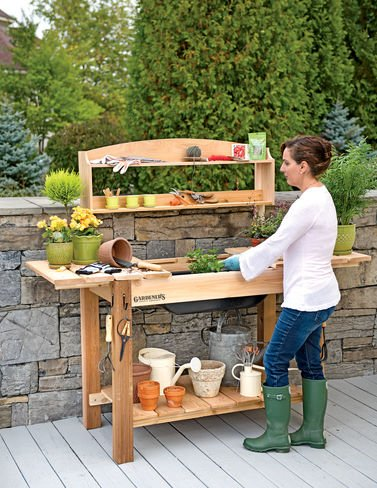 GSC Potting Bench with Shelves (Western Red Cedar Potting Bench compare prices)